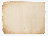 Old paper isolated on a white background, top view