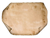 old paper parchment scroll isolated on white background