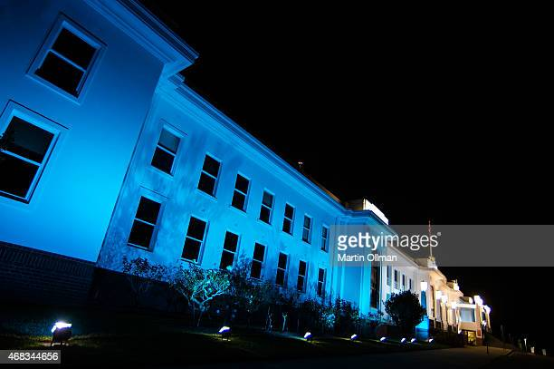 Old Parliament House is illuminated in blue to mark the World Autism Awareness Day on April 2 2015 in Canberra Australia