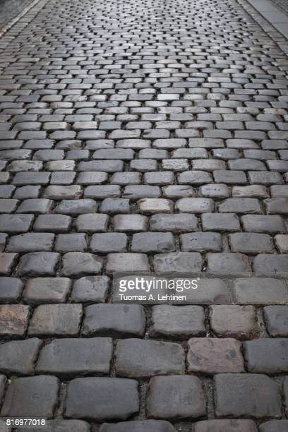Old paving stone road at the Old Town in Prague, Czech Republic. Viewed from above.