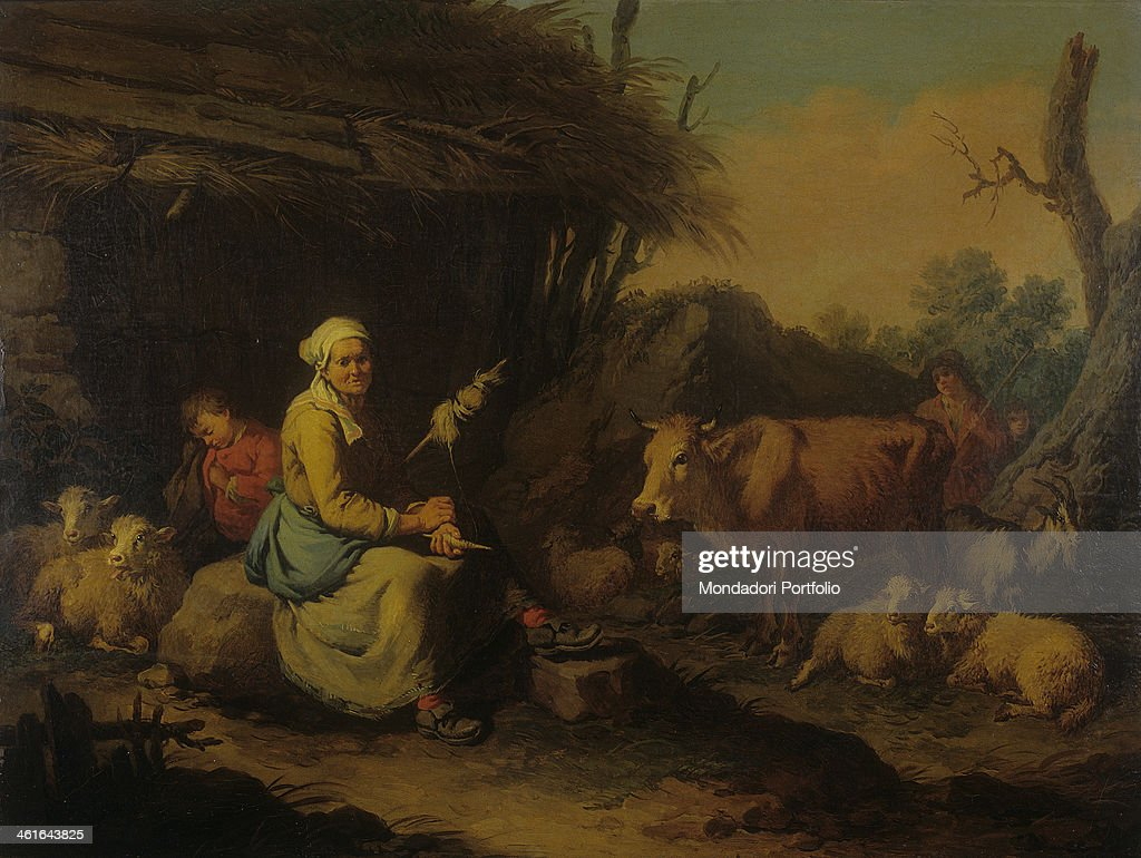 Old Peasant Spinner next to a Cattle, by Francesco Londonio, 1775, 18th Century, oil on canvas. Italy, Lombardy, Milan, Castello Sforzesco, Civic Collection of Ancient Art. Whole artwork view. Genre scene with an old spinner, a sleeping child, sheep and a cow. In the background a hut with thatched roof.