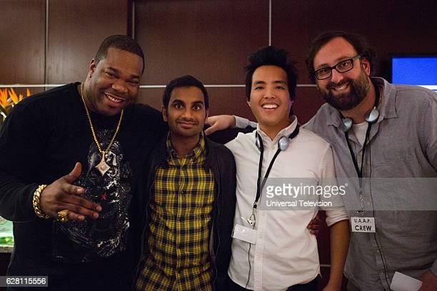 NONE 'Old People' Episode 108 Pictured Busta Rhymes Executive Producer Aziz Ansari Executive Producer Alan Yang Eric Wareheim