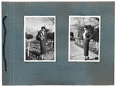 Old photo album with young italian woman photos in 1934