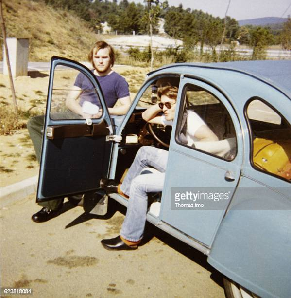 Old photo taken by FrankWalter Steinmeier with a friend during a holiday in France in the 80's on January 01 1980 in unknown France