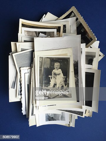 Old Photos with Photograph of Baby Girl : Stock Photo