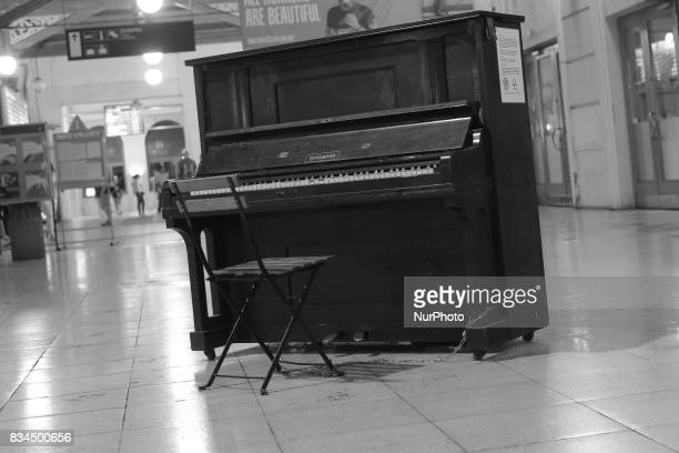 A old piano in Masarykovo nadrazí train station in Prague on August 17 2017 The oldest of the train stations in Prague it was founded in 1845 It is...