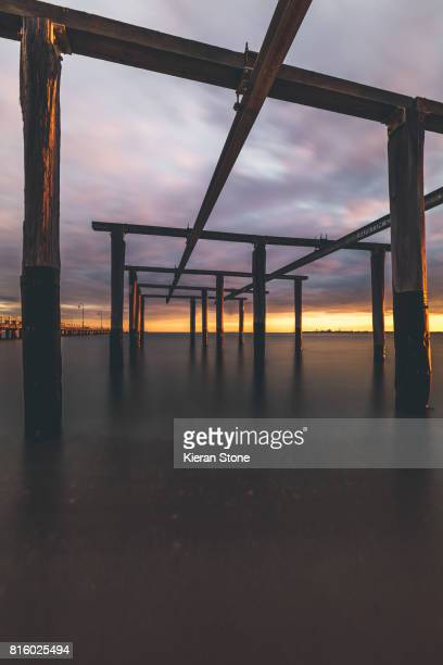Old Pier Structure at Sunset
