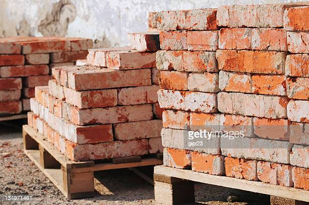 Old piles of bricks at a construction site