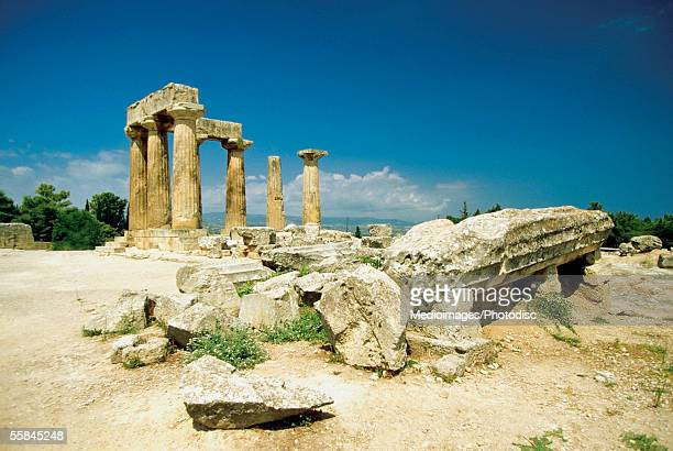 Old pillars of the Temple of Apollo, Corinth, Greece