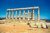 Old pillars of the Temple of Poseidon, Athens, Greece