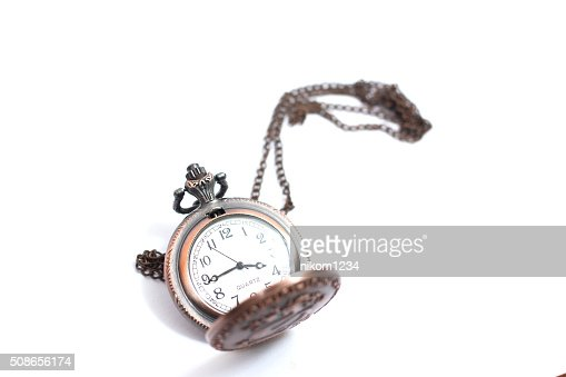 old pocket watch on white background : Stock Photo