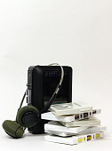 Portable tape player with headphones and cassettes