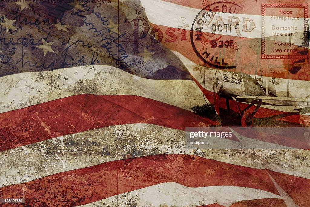 Old Postcard, United States Flag and Vintage Plane Collage Compilation : Stock Photo