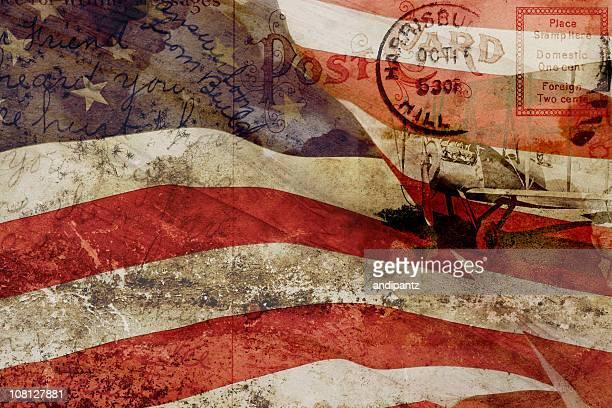 Ancienne carte postale, États-Unis drapeau et avion Vintage Collage de réseau