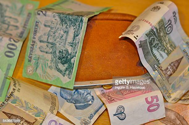 Old purse and variety of banknotes from different countries