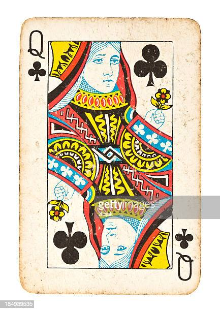 Old Queen of Clubs Isolated on White