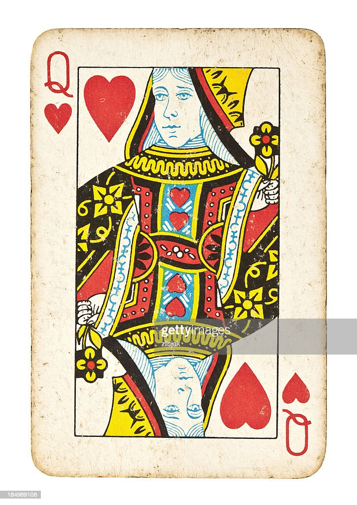 Old Queen of Hearts Isolated on White