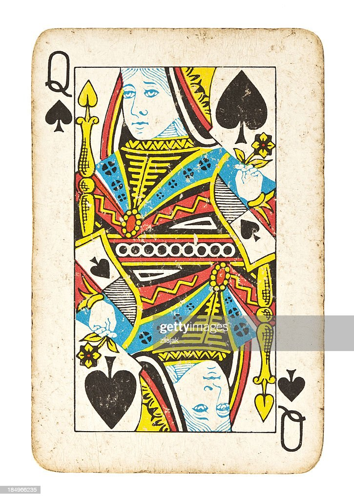 Old Queen of Spades Isolated on White