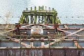 old rusty railway bridge in Geertruidenberg, Holland
