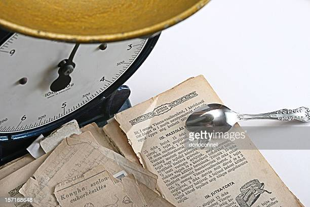 old recipe book with scales
