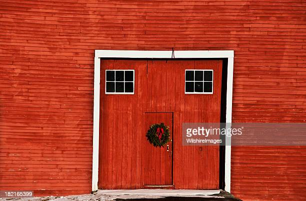 Old Red Barn Doors with Christmas Wreath