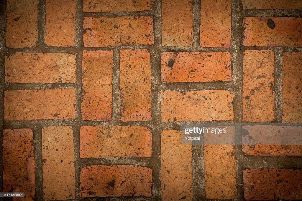 Brick Floor Texture : Old red brick floor texture background stock photo getty