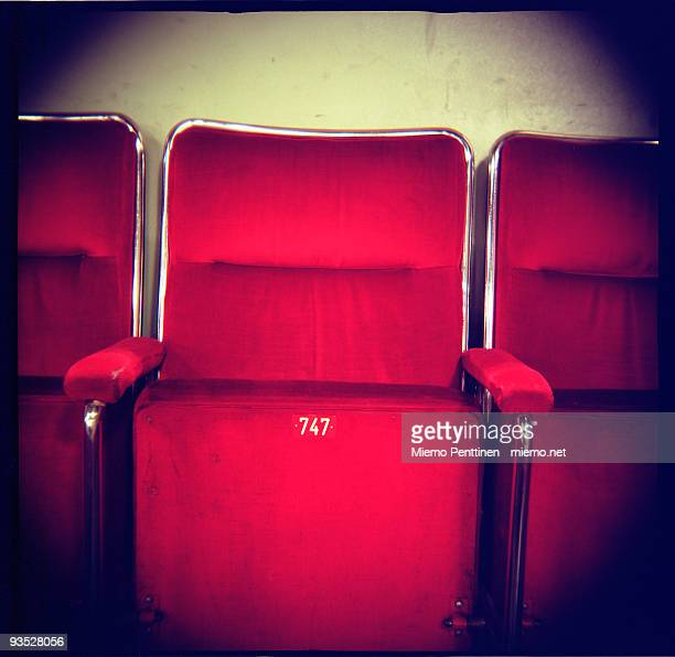 Old red cinema seat