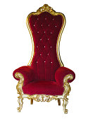 Old red golden king throne isolated over white background.