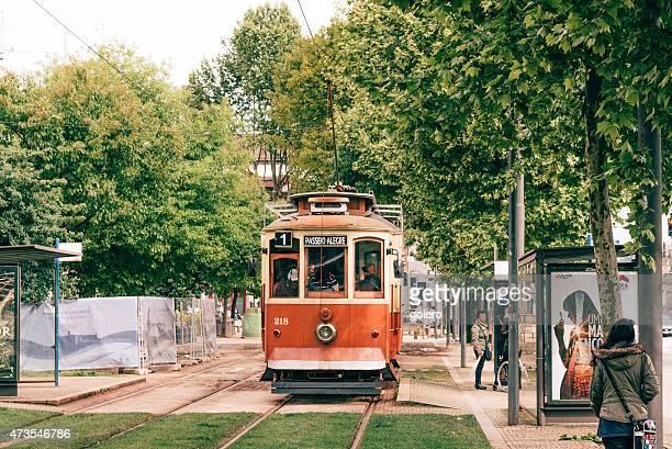 old red tram in porto