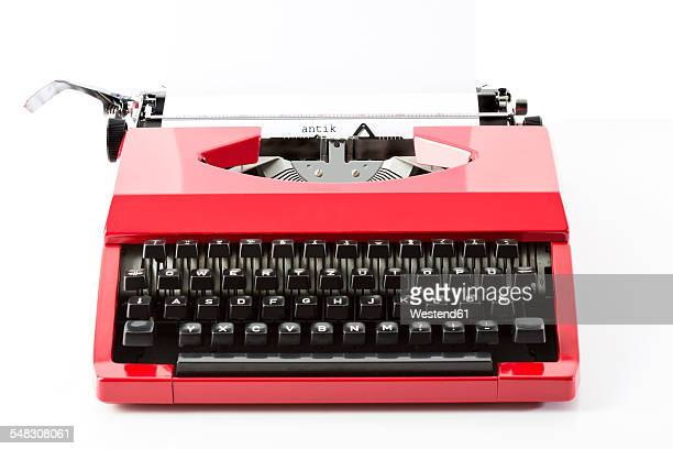 Old red typewriter