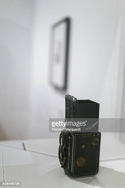 A old Rolleiflex photo camera which was used by Robert Doisneau pictured during the 'Robert Doisneau Fotografien' press conference and exhibition...