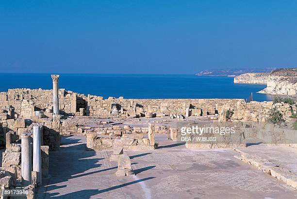 Old ruins of a basilica at the coast Kourion Limassol Cyprus