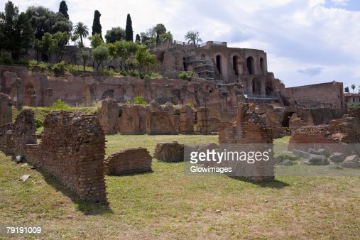 Old ruins of a building, Rome, Italy : Stock Photo