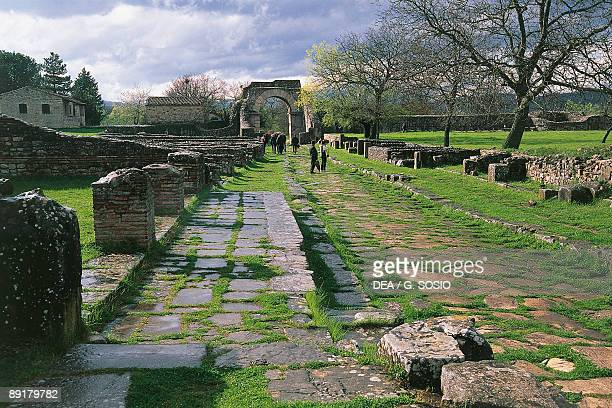 Old ruins of a building Saepinum Sepino Decuman Molise Italy