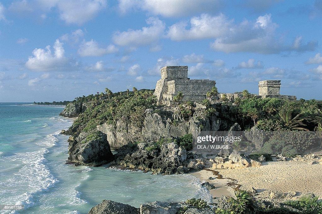 Old ruins of a castle on a cliff El Castillo Tulum Quintana Roo Mexico