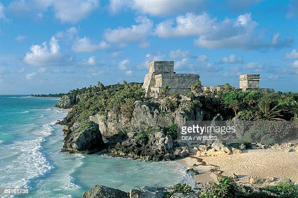 Old ruins of a castle on a cliff El Castillo Tulum Quintana Roo Mexico