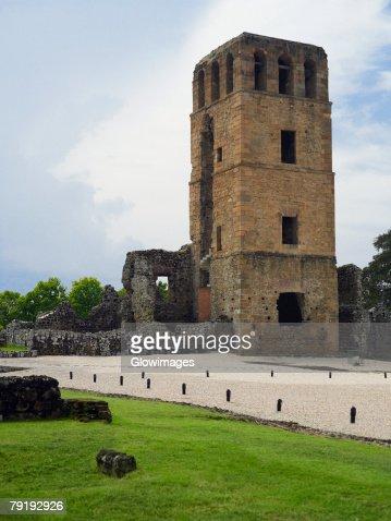 Old ruins of a church, La Merced Church, Old Panama, Panama City, Panama : Stock Photo