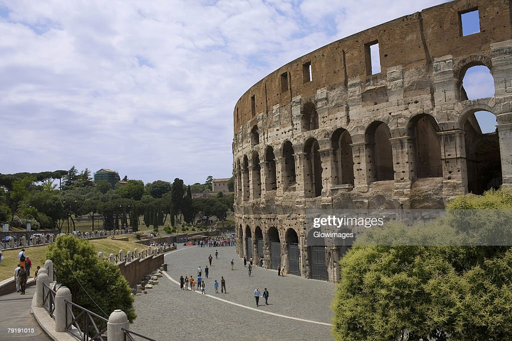 Old ruins of an amphitheater, Coliseum, Rome, Italy : Stock Photo