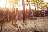 Old broken and rusted playground