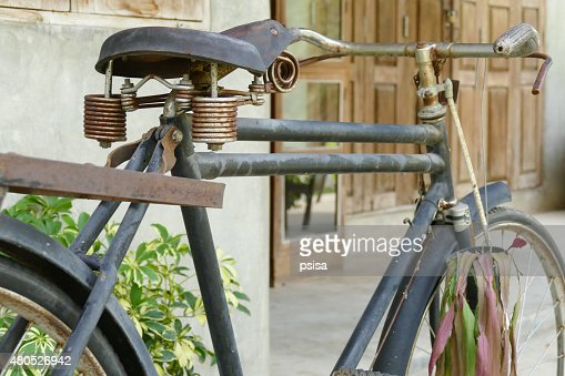 old rusty black bicycle : Stock Photo
