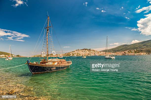 Old Sailboat Moored off Greek Island of Poros