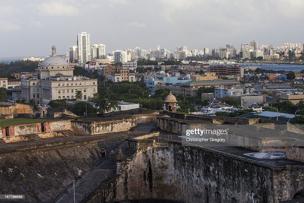 Old San Juan the center for Puerto Rican tourism is viewed on November 12 2013 in San Juan Puerto Rico The island territory of the United States...