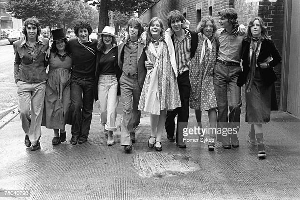 Old scholars with their brothers and sisters going to the Eton Harrow annual cricket match at Lords cricket ground St Johns Wood 1975