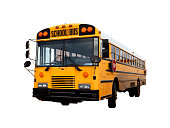 Old american yellow school bus isolated with clipping path
