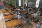 Interior classrom and desks of old one room schoolhouse