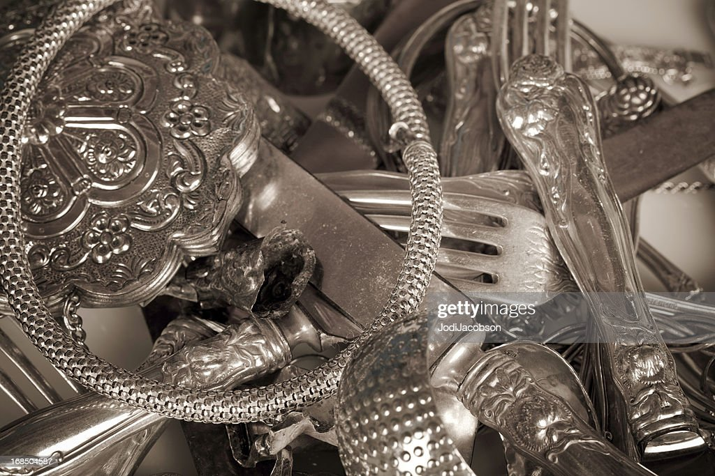 old scrap sterling silver : Stock Photo
