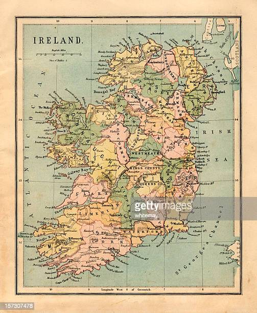 Old, sepia-colored map of Ireland