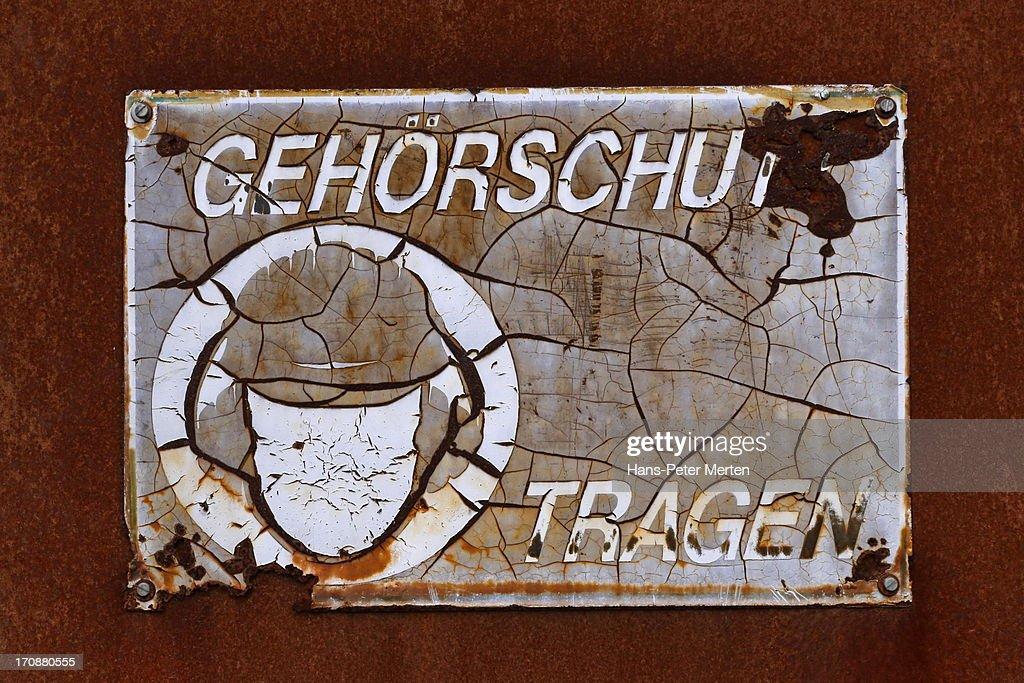 old sign, museum Völklinger Hütte : Stock Photo