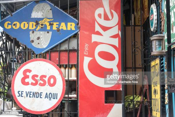 Old signs of famous brands at the Ileana Sanchez and Joel Jover house The Cuban artists collect old objects and their house is a tourist attraction...