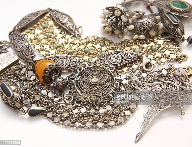Old silver Filigree jewelry from Jaffa flea market